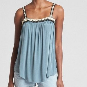 Gap Shirred Crochet-Detail Tank Top